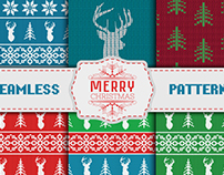 Scandinavian christmas seamless knitted pattern