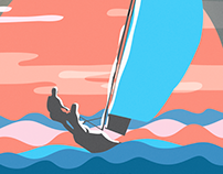 Sailboat Racing at America's Cup - Ocean Illustrations
