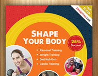 Free Clean Fitness Gym Flyer PSD Template