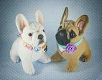 French Bulldog Puppies, handmade soft art toys