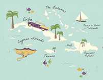 Illustrated map of the Caribbean