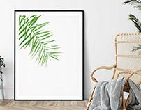 Green Palm Print, Printable Wall Art
