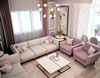 small pinky living and open kitchen design