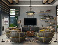 Industrial Living room in Dubai