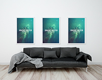Free Triple Poster Frame With Sofa Mockup