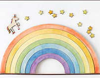 Unicorn over the rainbow — design of desk calendar