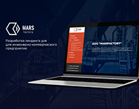Landing page design for Mars factory