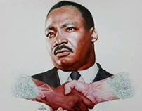 Martin Luther King with ballpoint pen