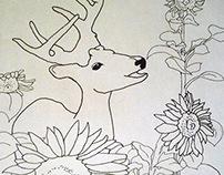 Deer in Sunflowers Kids Coloring Sheet 2015