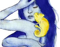 Blue; watercolour