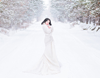 Beautiful girls in winter forest