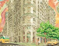 Watercolor Corner Building