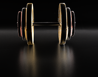 3D - Golden, Silver and Copper made Dumbbell