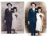 Colorisation of a wedding photograph