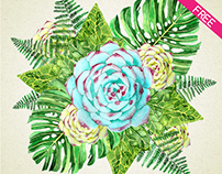 FREE Watercolor Floral Elements IN PSD