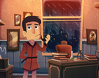 Sherlock Holmes animated illustration