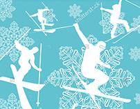 snow time graphic design vector art