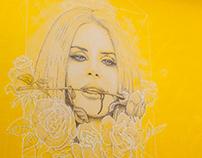 Lana Del Rey dotwork mural portrait