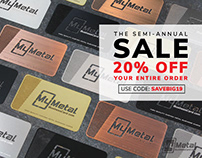 Semi Annual SALE - 20% OFF Metal Business Cards