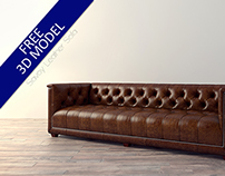Free 3D Model- Savoy Leather Sofa
