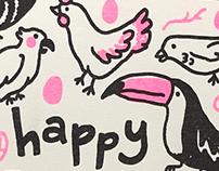 Happy Bird Day Risograph