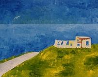 Una casa bianca in mezzo al blu