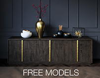 FREE MODELS Bezier panel 6-door sideboard