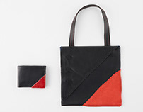 Abstract wallet and handbag with red accent