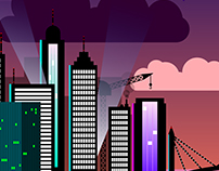 City By Night - Vector Illustration