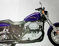 "Free Hand Illustration: ""Harley Davidson Sportser"""