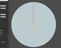 Divide circle into 5 equal segments by 1 click