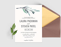 Free Green Leaves Wedding Invitation Template