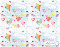 Sky watercolor cute seamless pattern