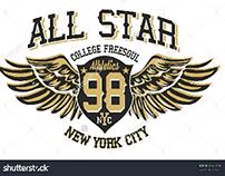 college All star graphic design vector art