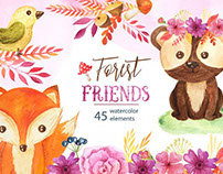 Free Design of the Week - Watercolor Forest Animals