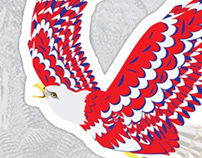 Blue red and white bald eagle