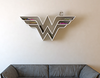 Wonder Woman, logo, shelf, interrior, design, bookshelf
