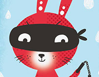 Coniglio ninja -postcard-