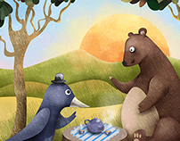Bear and crow illustration