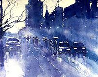 Watercolor - Rainy Cityscape