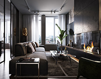 APARTMENT INTERIOR DESIGN IN DARK SHADES