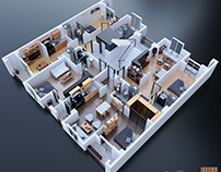 Interior design from the top view  4 different houses