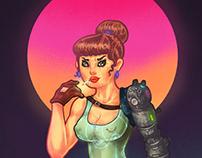 「賽博畫報女郎」插畫, 設計   Cyber Pinup