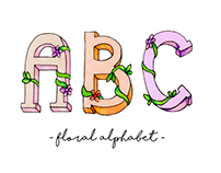 Watercolor floral alphabet
