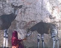 "mural ""Okapi´s last sun. Africa."""