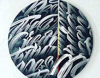 Lettering patternism on round canvas