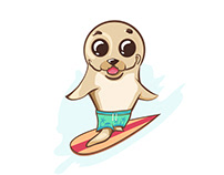 Sweet seal mascot. Surfer. Hawaii