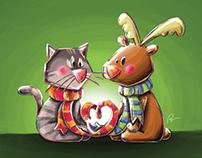 Cat and Reindeer
