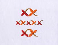 WILTED FALL COLORED LEAVES BORDER EMBROIDERY DESIGN