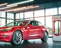 Tesla 3 Charging/ Blender3D